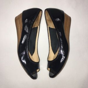 Cole Haan Air Tali Low Wedge Shoes Leather Black